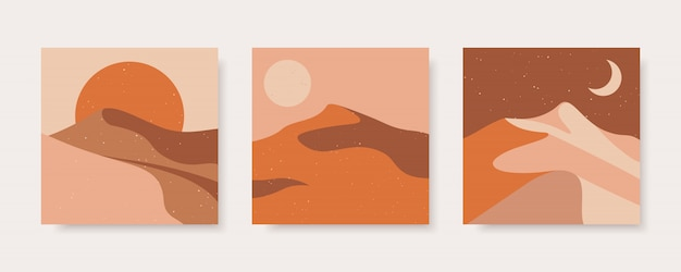 Set of abstract contemporary illustration of desert