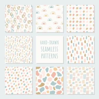 Set of abstract contemporary seamless patterns. modern trendy illustration. perfect for textile print