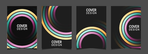 Set abstract cover design with colorful line on dark background