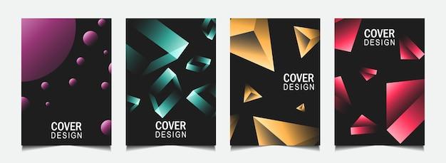 Установите абстрактный дизайн обложки с красочной линией на темном фоне