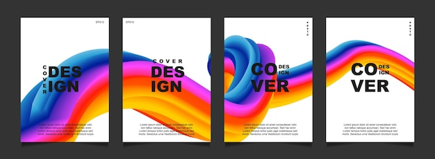 Set abstract cover design with fluid shape on white background