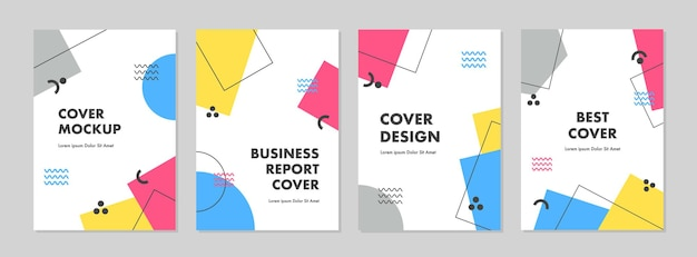 Set of abstract creative artistic template for cover design