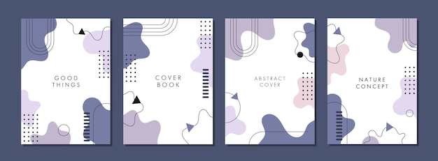 Set of abstract creative artistic template for cover