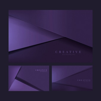 Set of abstract creative background designs in deep purple