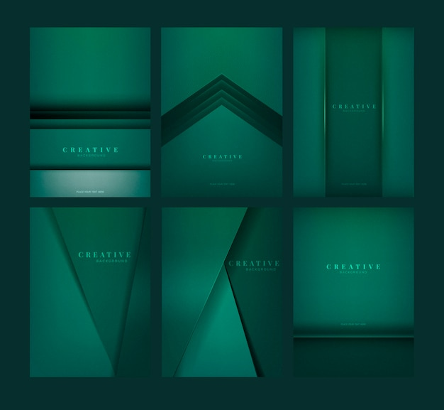 Set of abstract creative background designs in emerald green