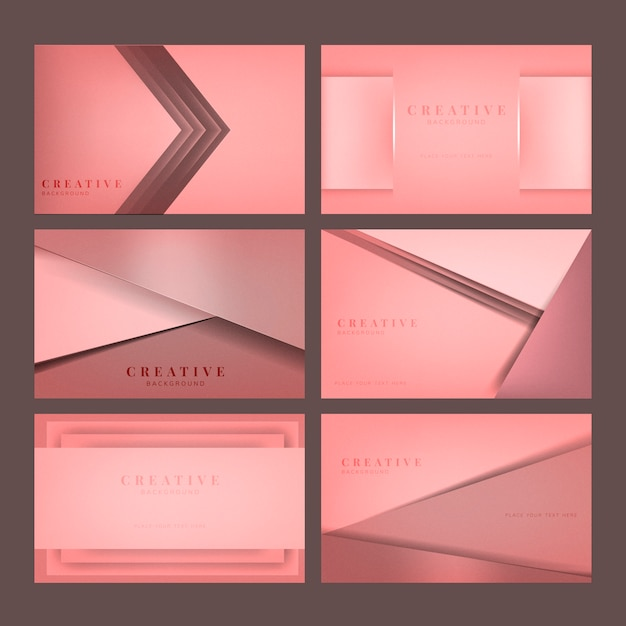 Set of abstract creative background designs in pink