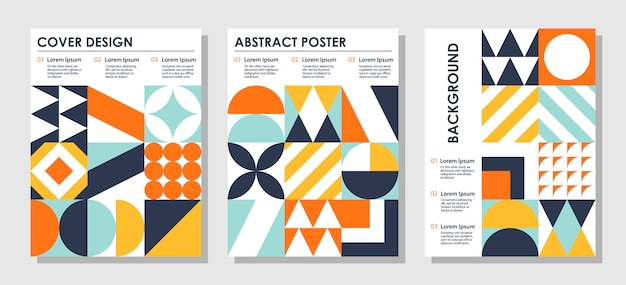 Set of abstract creative backgrounds in bauhaus style with copy space for text.
