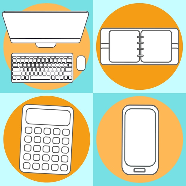 現代の携帯電話、電卓、メモ帳、コンピューターの抽象的な創造的な概念のベクトル図を設定します。線のアイコン。フラットなデザインのピクトグラム。