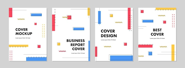 Set of abstract creative geometric template for cover design