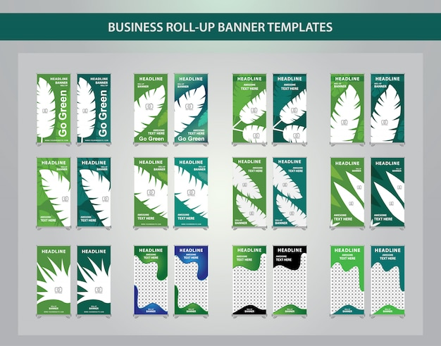 Set of abstract creative roll up template design