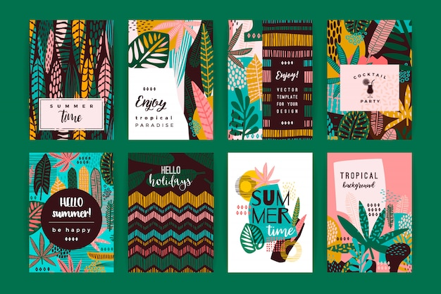 Set of abstract creative templates with tropical leaves