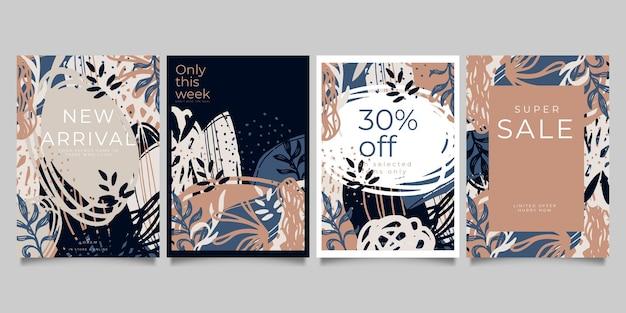 Set di modelli artistici universali creativi astratti. ottimo per poster, biglietti, inviti, volantini, copertine, striscioni, cartelloni, brochure e altri progetti grafici.