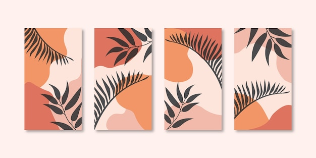 Set of abstract creative universal cover design templates for social media stories