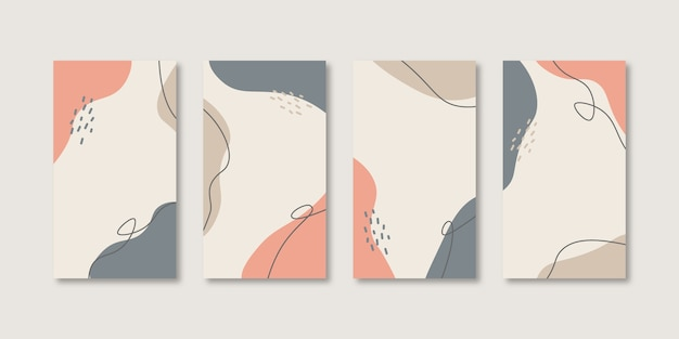 Set of abstract creative universal cover design templates for social media