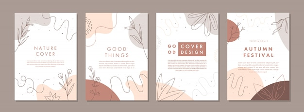 Set of abstract creative universal cover design templates with autumn concept