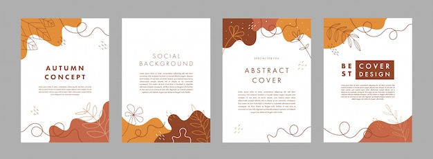 Set of abstract creative universal cover design templates