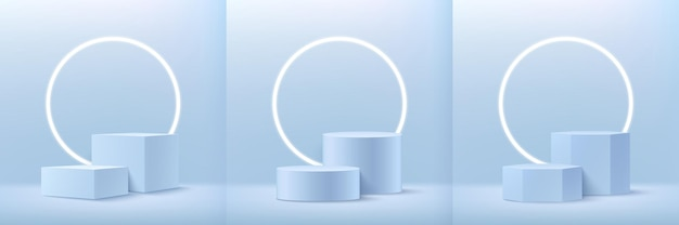 Set of abstract cube round and hexagon display for product presentation