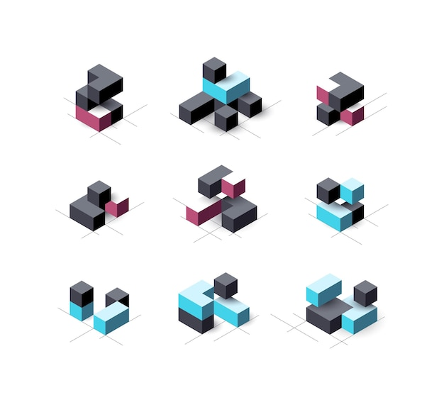 Set of abstract cubical   design elements.