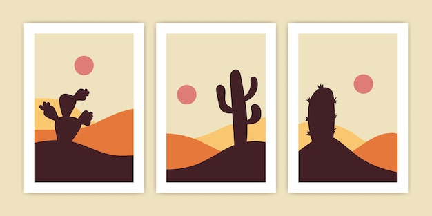 Set of abstract desert landscape with cactus for poster design.