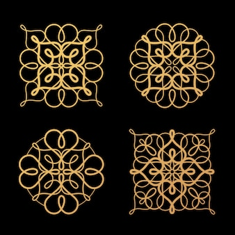 A set of abstract design elements openwork.