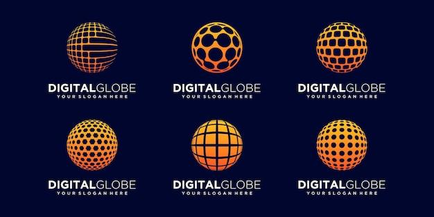 Set of abstract digital globe logo design vector template.
