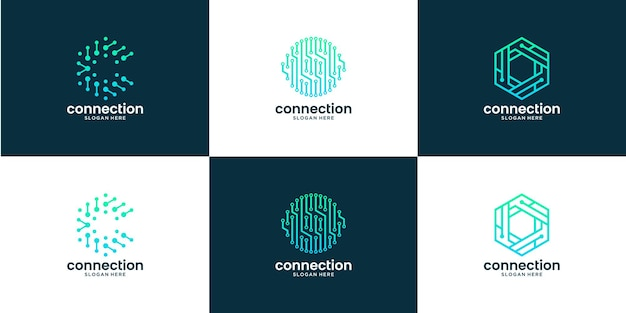 Set of abstract dot connection with letter c logo design