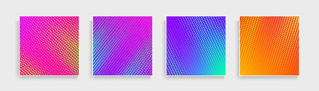 Set of abstract dots pattern with pink blue purple orange yellow vibrant color background