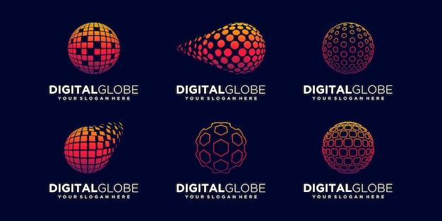 Set of abstract earth data digital logo design vector template.