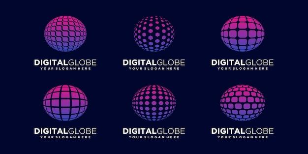 Set of abstract earth data digital technology logo design vector template.