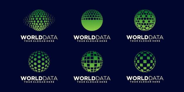 Set of abstract earth data logo design vector template.