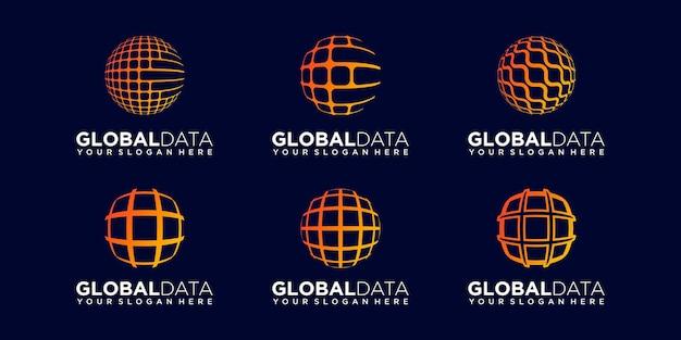Set of abstract earth data tech logo design vector template.