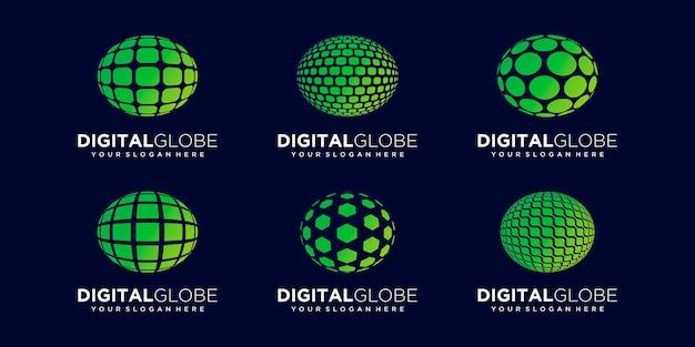 Set of abstract earth digital logo design vector template.