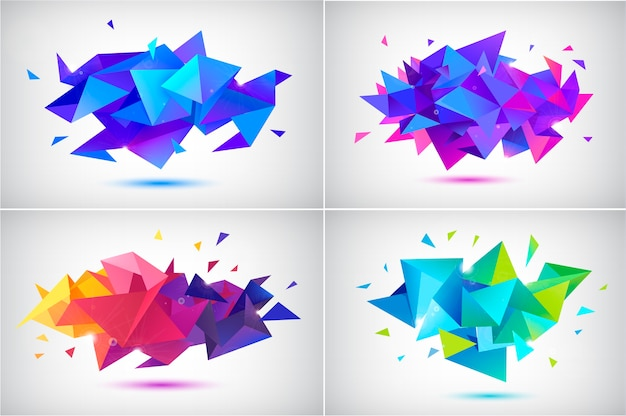 Set of abstract facet shapes isolated on grey