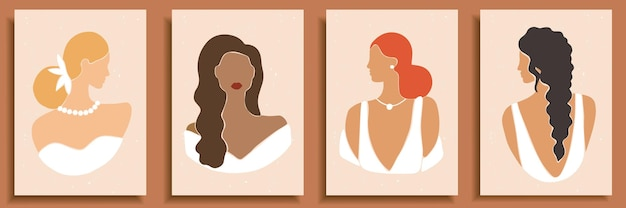 Set of abstract female shapes and silhouettes. abstract women portraits in wedding dresses in pastel colors.