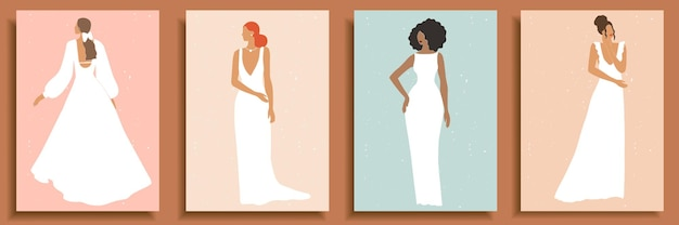 Set of abstract female shapes and silhouettes . abstract women portraits in wedding dresses in pastel colors.