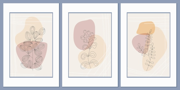 Set of abstract field grass posters against a background of abstract geometric shapes and lines