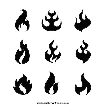 Set of abstract fire silhouettes