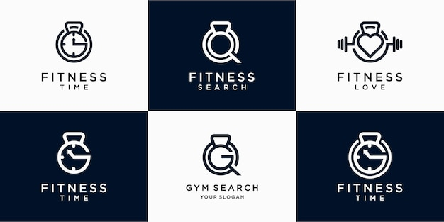 Set of abstract fitness gym logo design, gym search and gym time. premium vector