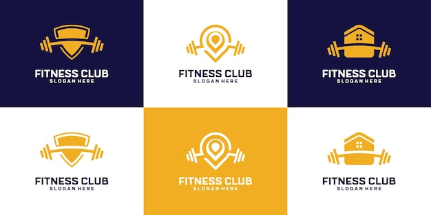 Set of abstract fitness gym logo design.