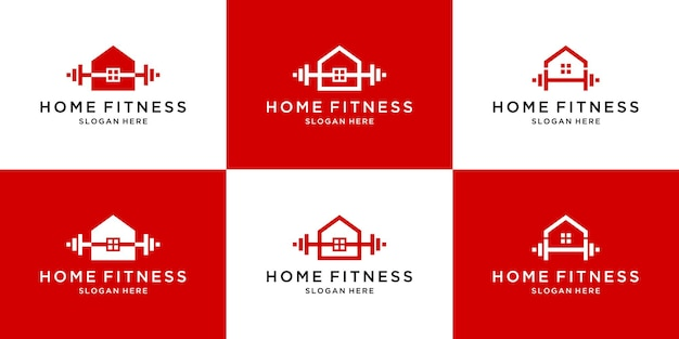 Set of abstract fitness home logo template