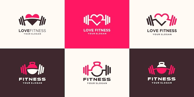 Set of abstract fitness love logo. kettlebell combined dumbbell and heart logo design