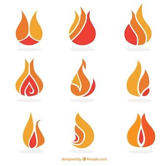 Set di astratto fiamme