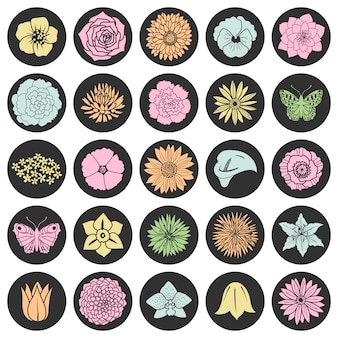 Set of abstract flat flowers