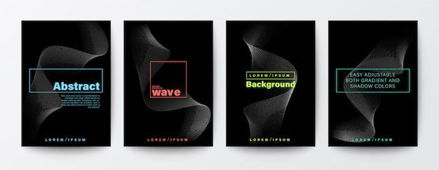 Set of abstract flow wavy flyers