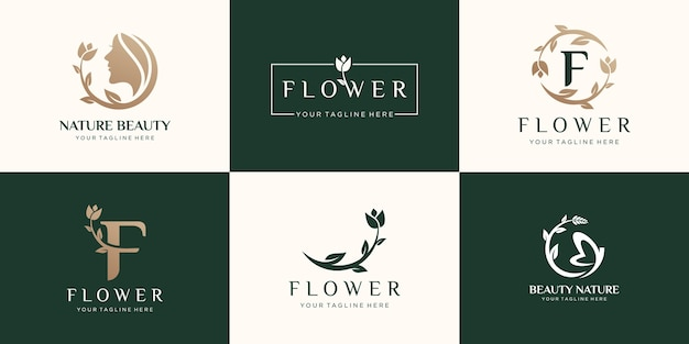Set of abstract flower rose logo