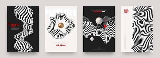 Set of abstract futuristic background posters with fluid wave shapes