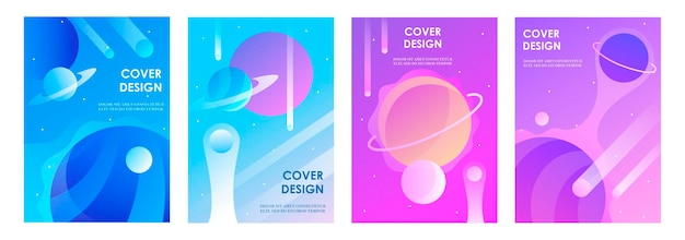 Set of abstract futuristic space backgrounds