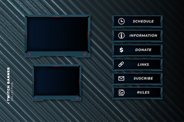 Set of abstract gaming panels for twitch template