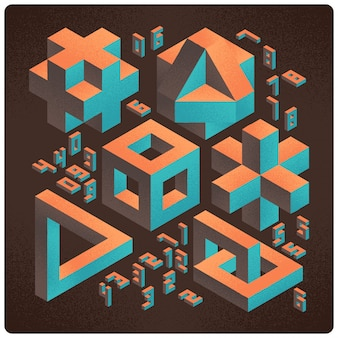 Set of abstract geometric 3d shapes