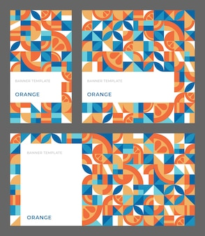 Set of abstract geometric backgrounds with copy space vector template with orange in bauhaus style for banner ad stories social media simple repeating shapes mosaic seamless pattern